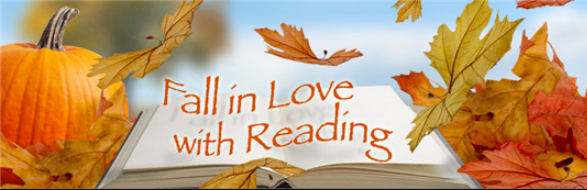 "Image of fall leaves with the words ""Fall in love with reading"""