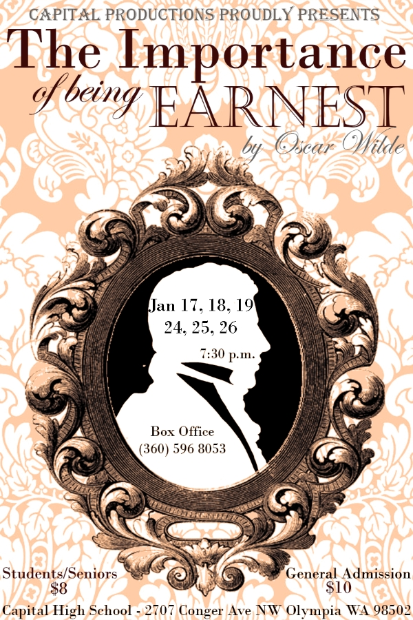 Poster for play; includes image of a man's silhouette surrounded by a frame.  Show information provided.